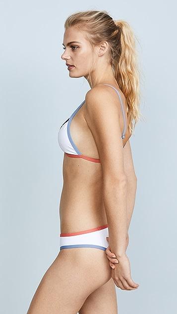Tavik Swimwear White Colorblock Jett Bikini Top