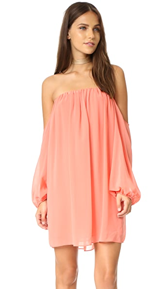 MISA Off Shoulder Dress - Coral