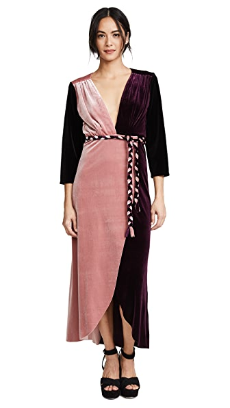 MISA Paloma Dress In Pink/Plum/Black