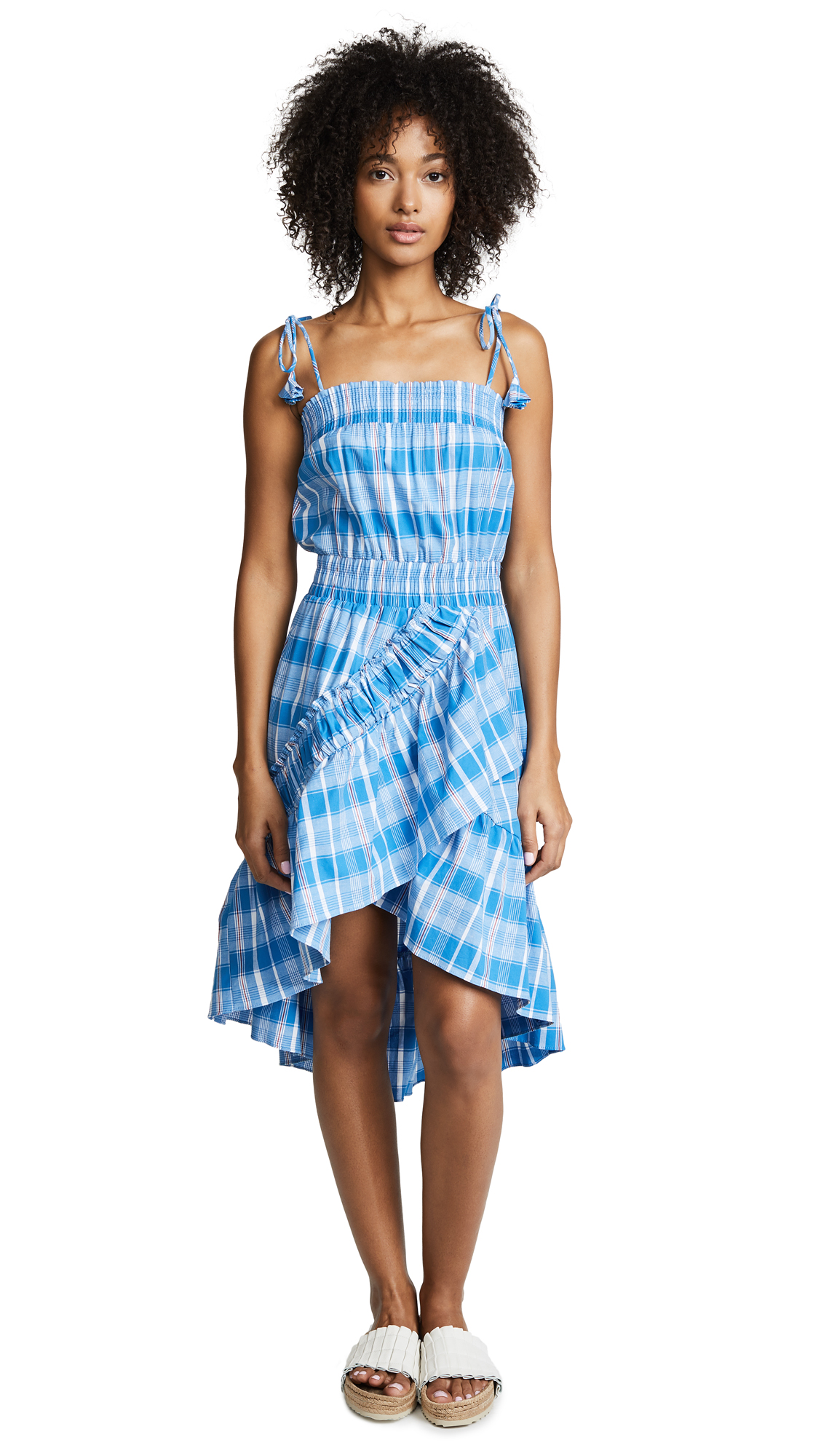 MISA Fernanda Check-Print Ruffled High-Low Dress in Blue