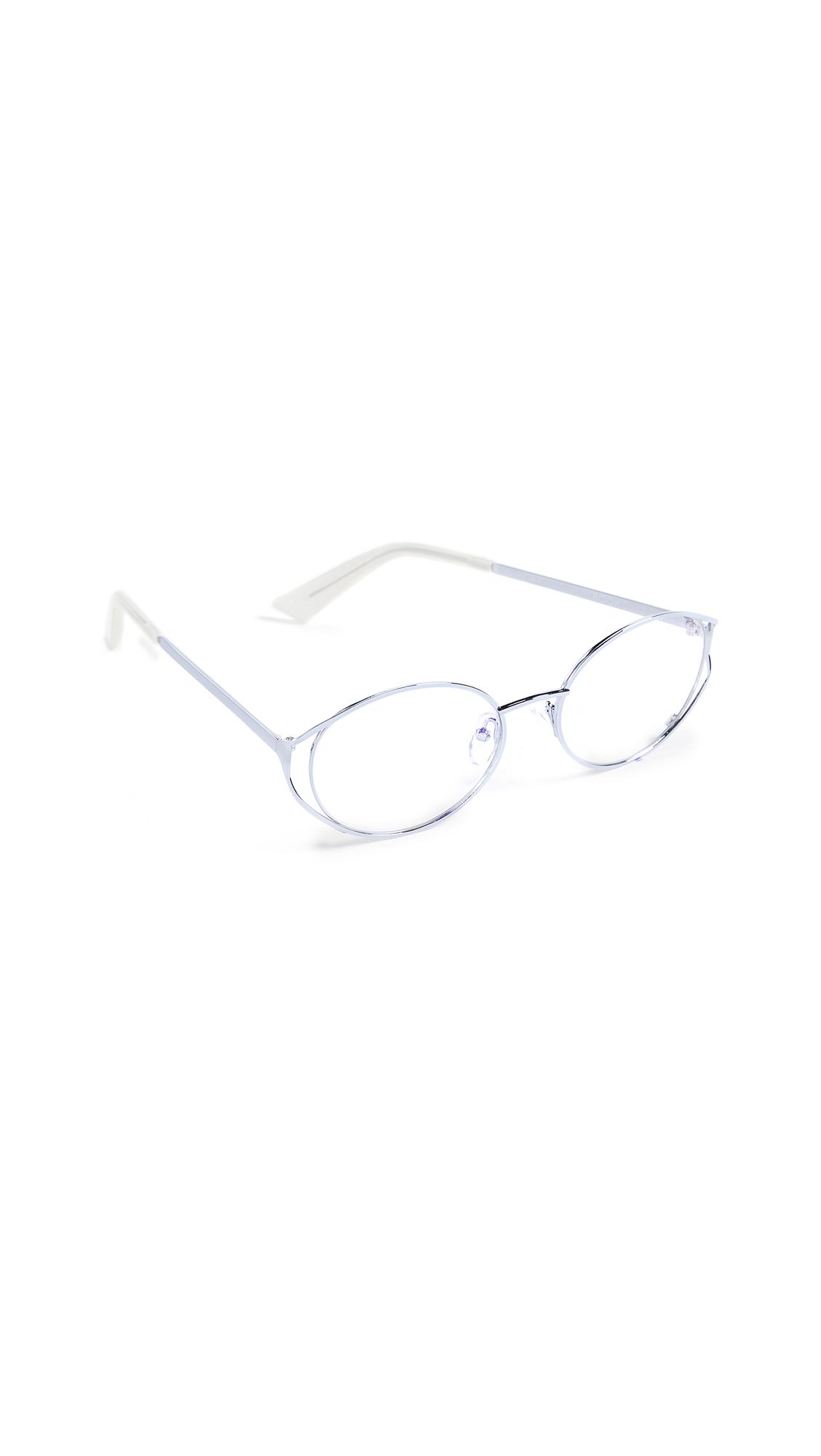 THE BOOK CLUB Spatula Glasses in Silver Cyan