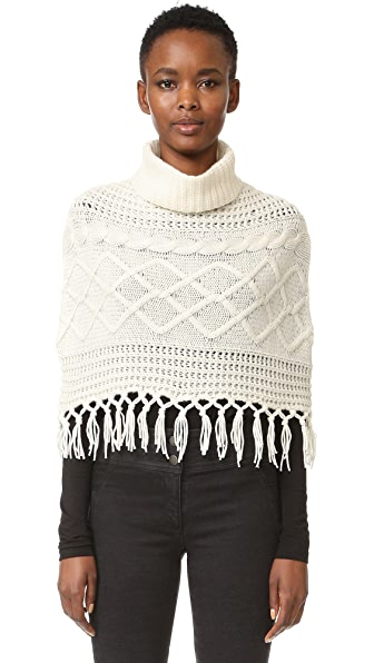 TSE Cashmere Claudia Schiffer x TSE Cable Capelet with Fringe at Shopbop