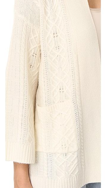 TSE Cashmere Claudia Schiffer x TSE Multi Stripe Cardigan