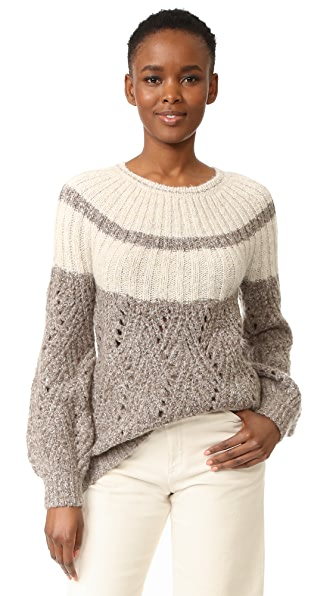 TSE Cashmere Chevron Stitch Chunky Pullover