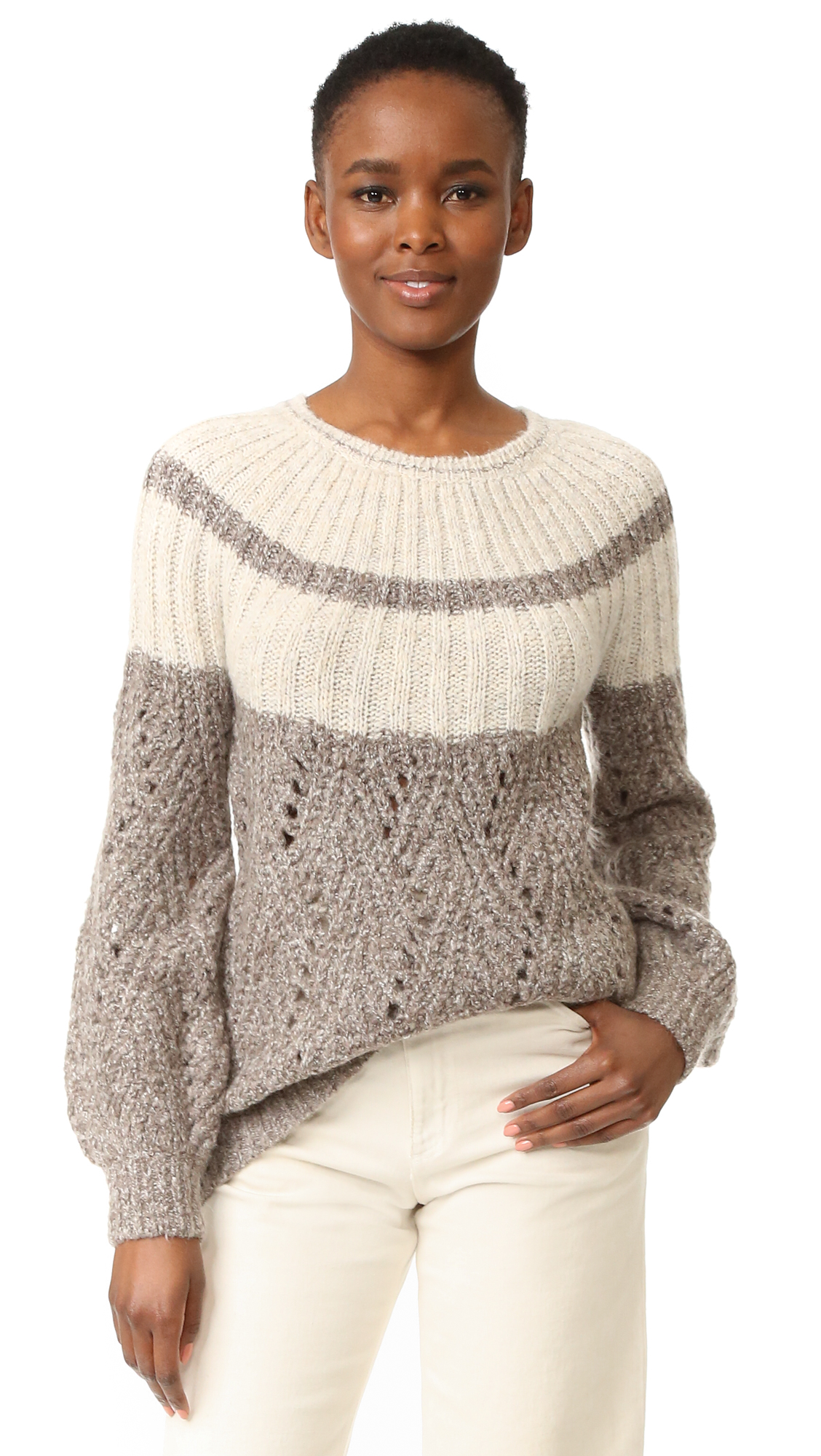 Raised stitches create a chevron pattern on this cozy TSE Cashmere sweater. Crew neckline. Long sleeves. Fabric: Brushed knit. 49% nylon/24% acrylic/17% mohair/10% wool. Dry clean. Imported, China. Measurements Length: 26in / 66cm, from shoulder Measurements from size