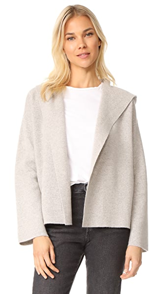 TSE Cashmere Cropped Jacket with Hood