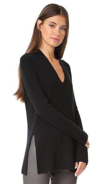 TSE Cashmere Long Sleeve Slit V Sweater - Black