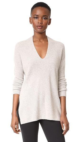 TSE Cashmere Long Sleeve Slit V Sweater
