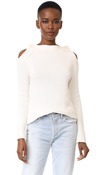 TSE Cashmere Long Sleeve Button Neck Sweater In Crème