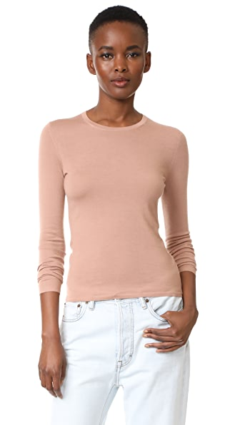 TSE Cashmere Long Sleeve Crew Neck Sweater In Clay