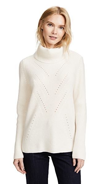 TSE Cashmere Long Sleeve Roll Neck Sweater In Creme