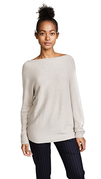 TSE Cashmere Asymmetrical Drape Cashmere Sweater In Dark Haze