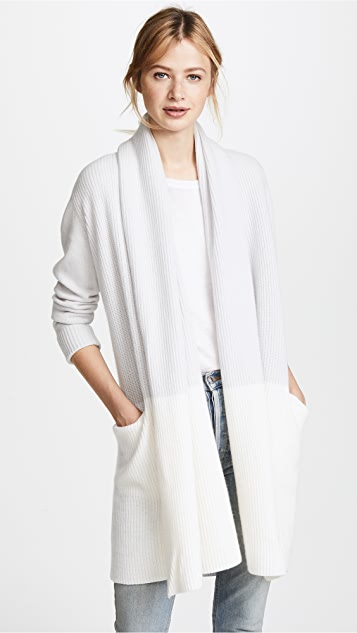 TSE Cashmere Colorblock Hooded Shawl Cardigan