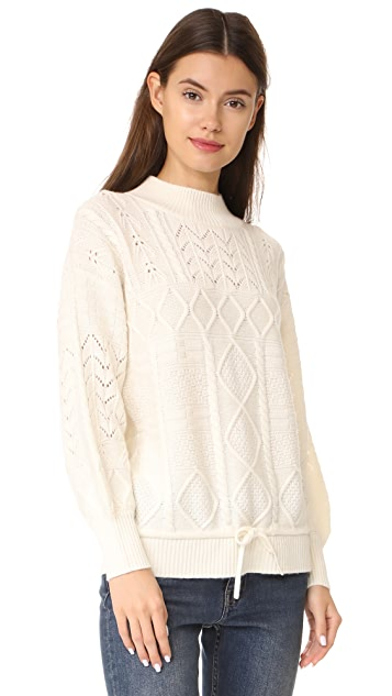 TSE Cashmere x Claudia Schiffer Cable Knit Long Sleeve Pullover