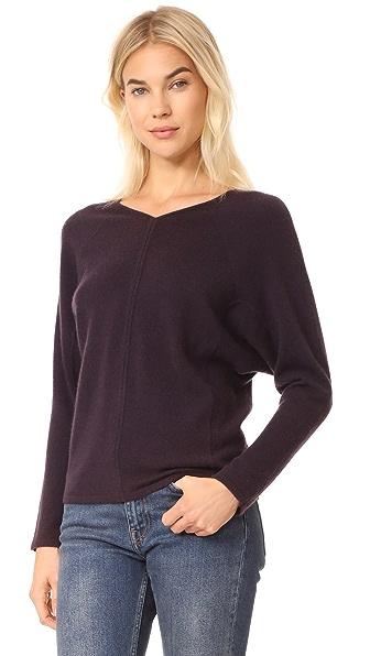 TSE Cashmere Double V Neck Sweater - Black Iris