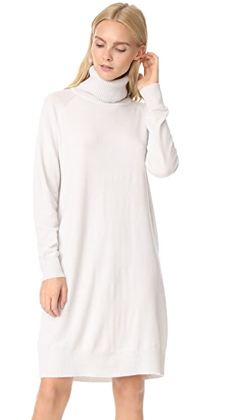 TSE Cashmere Mock Neck Tunic Dress In Porcelain