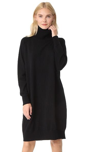 TSE Cashmere Mock Neck Tunic Dress - Black
