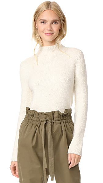 TSE Cashmere Long Sleeve Mock Neck In Plaster/Creme