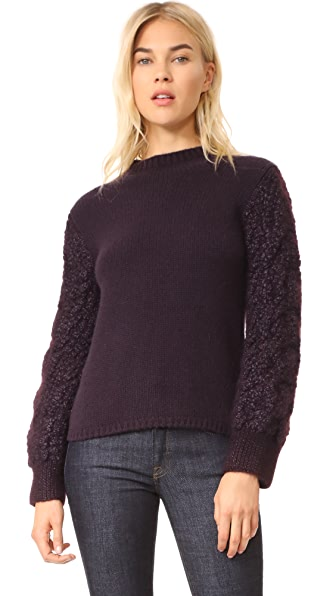 TSE Cashmere Cable Knit Mock Neck Sweater - Black Iris/Black