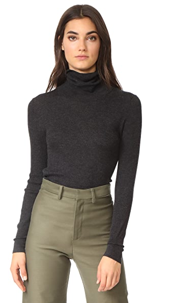 TSE Cashmere Turtleneck Sweater - Charcoal Melange