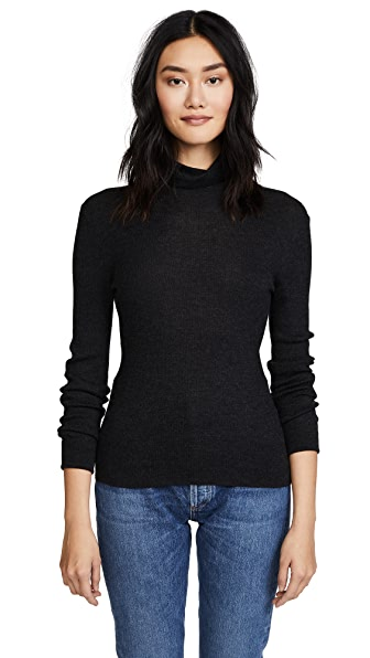 TSE Cashmere Turtleneck Sweater In Charcoal Melange