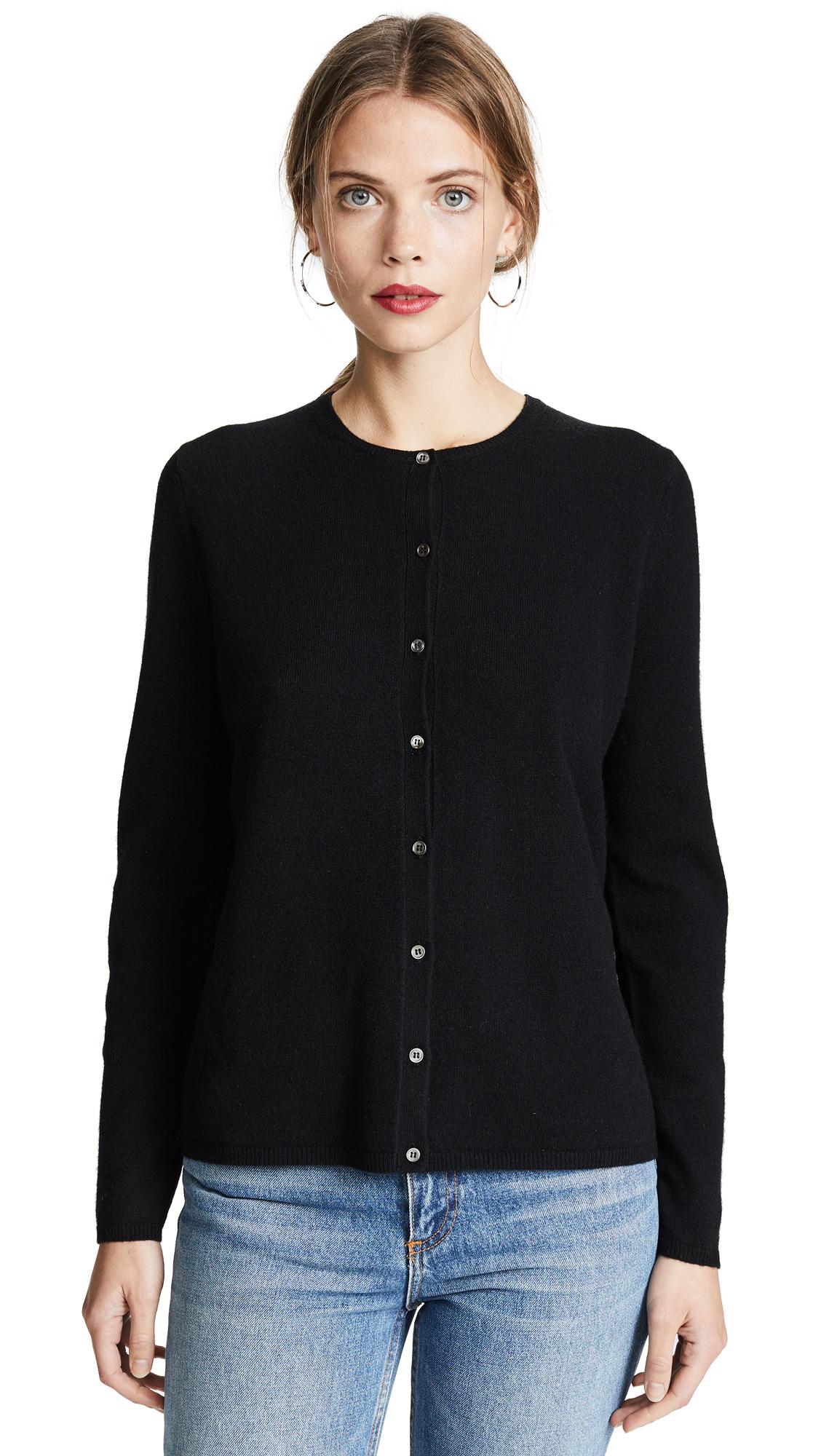 TSE Cashmere Long Sleeve Cardigan In Black