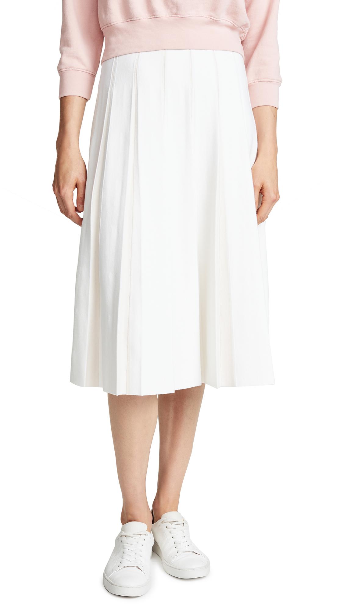 TSE Cashmere Pleated Midi Skirt In Crème/Mist
