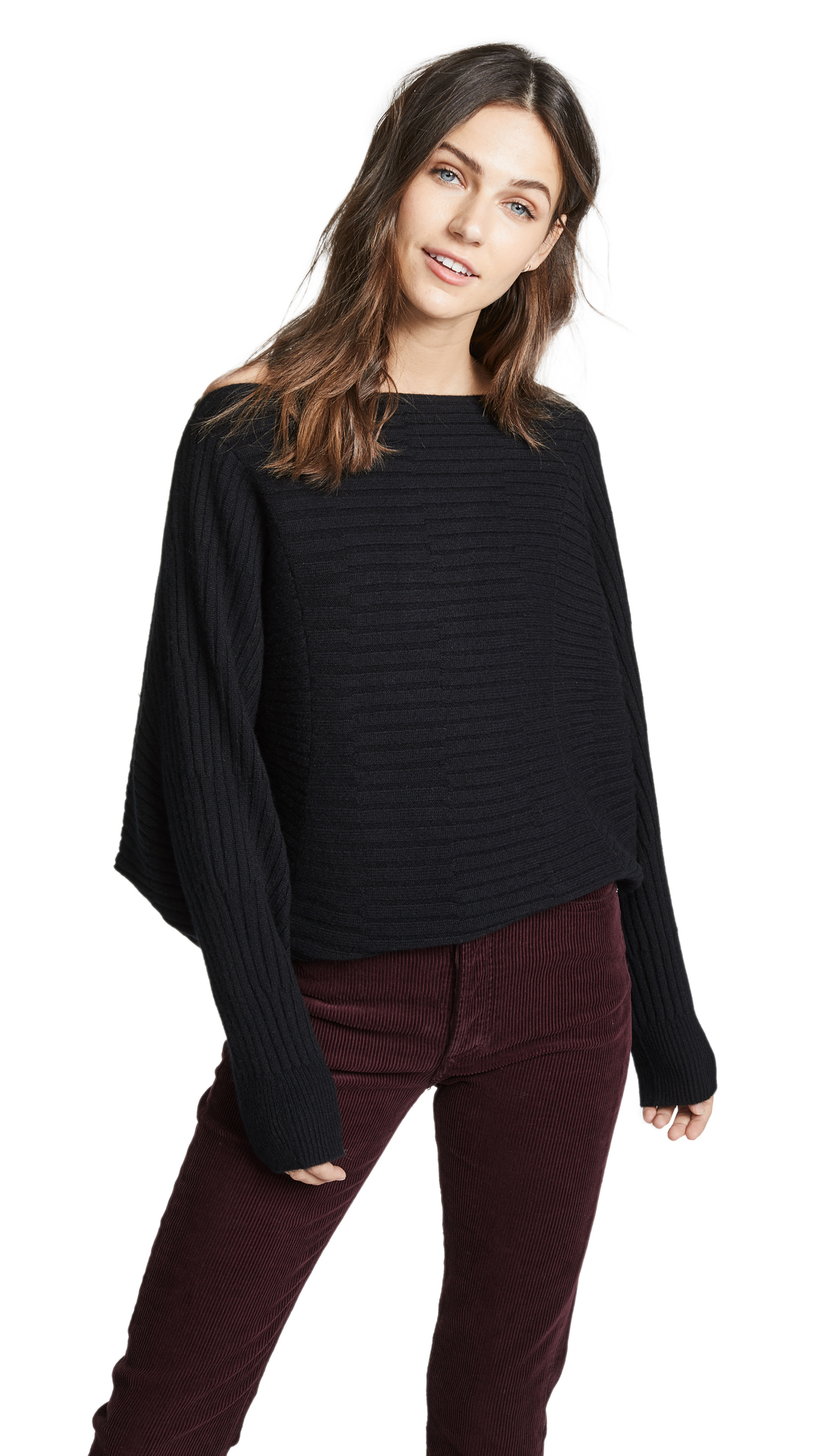 TSE Cashmere Circular Ribbed Sweater In Black