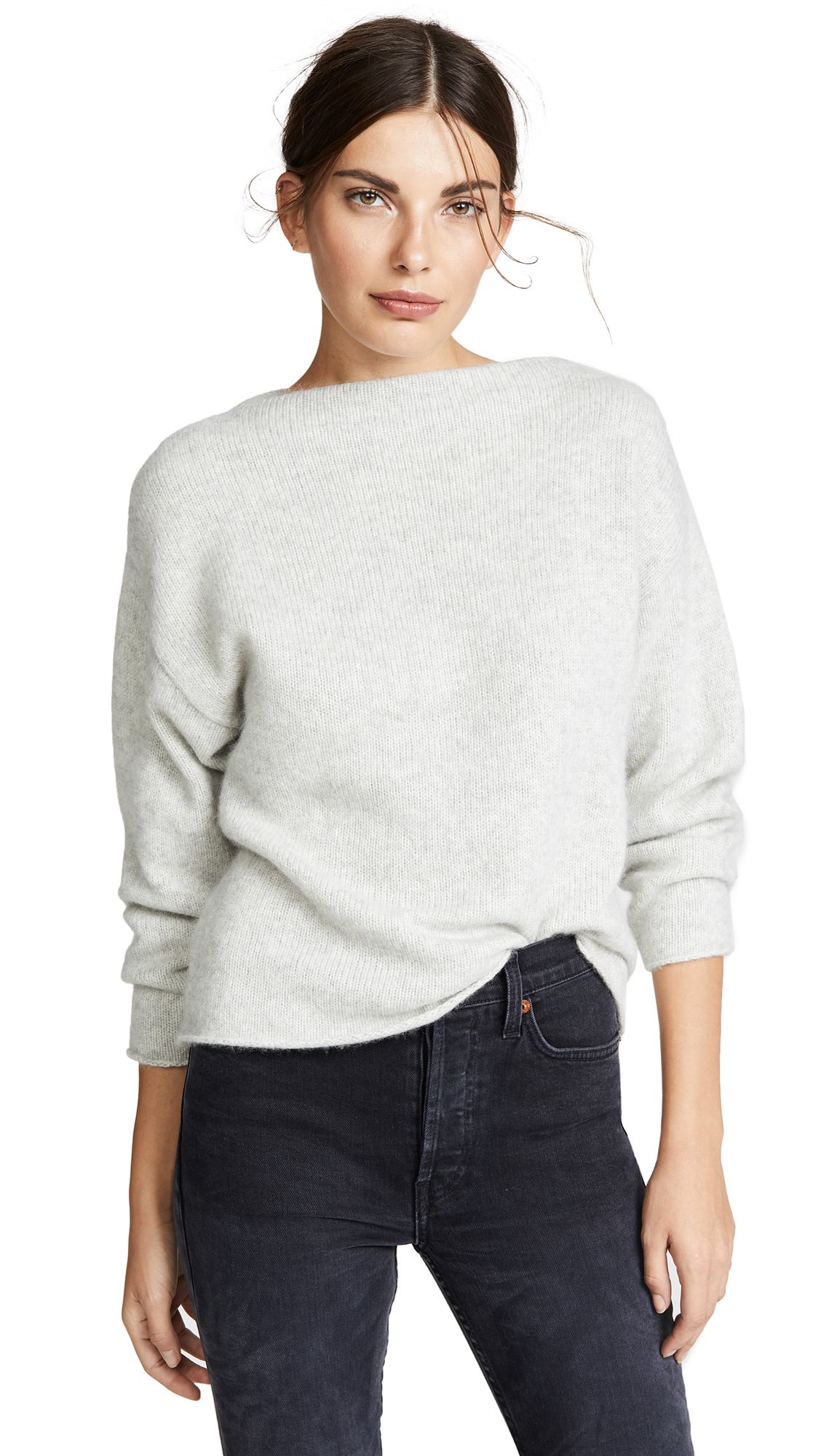 TSE Cashmere Oversized Cashmere Sweater In Ice Grey Melange