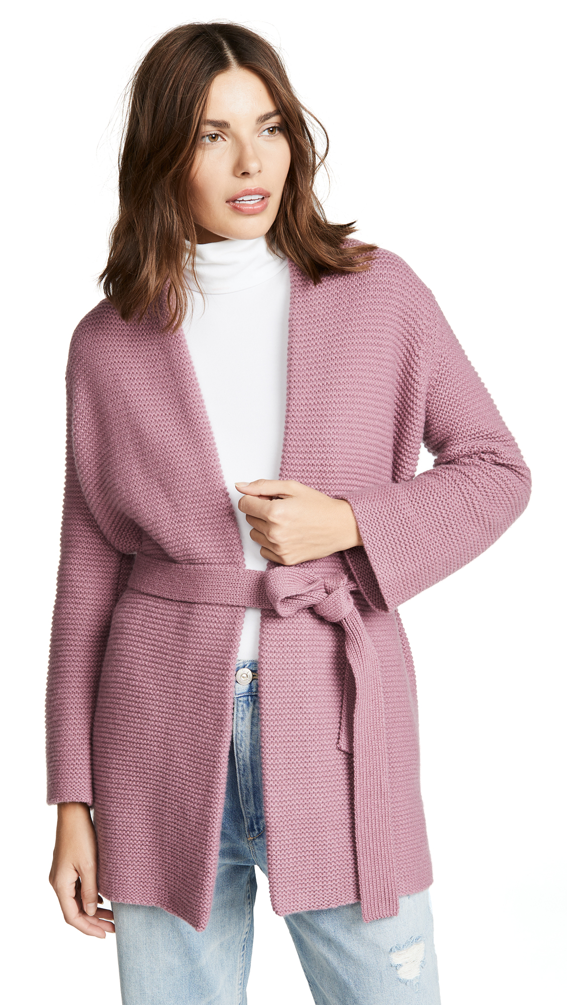TSE CASHMERE Chunky Cashmere Robe Cardigan With Belt in Muted Mauve