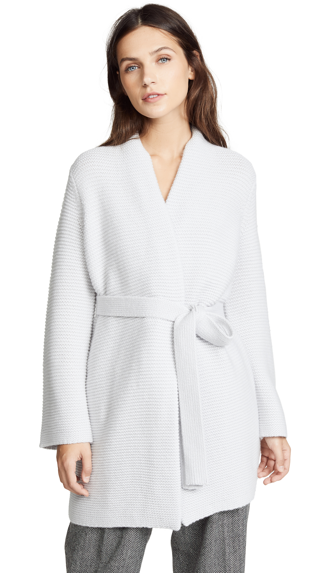 TSE Cashmere Chunky Robe Cardigan with Belt In Brushed Silver