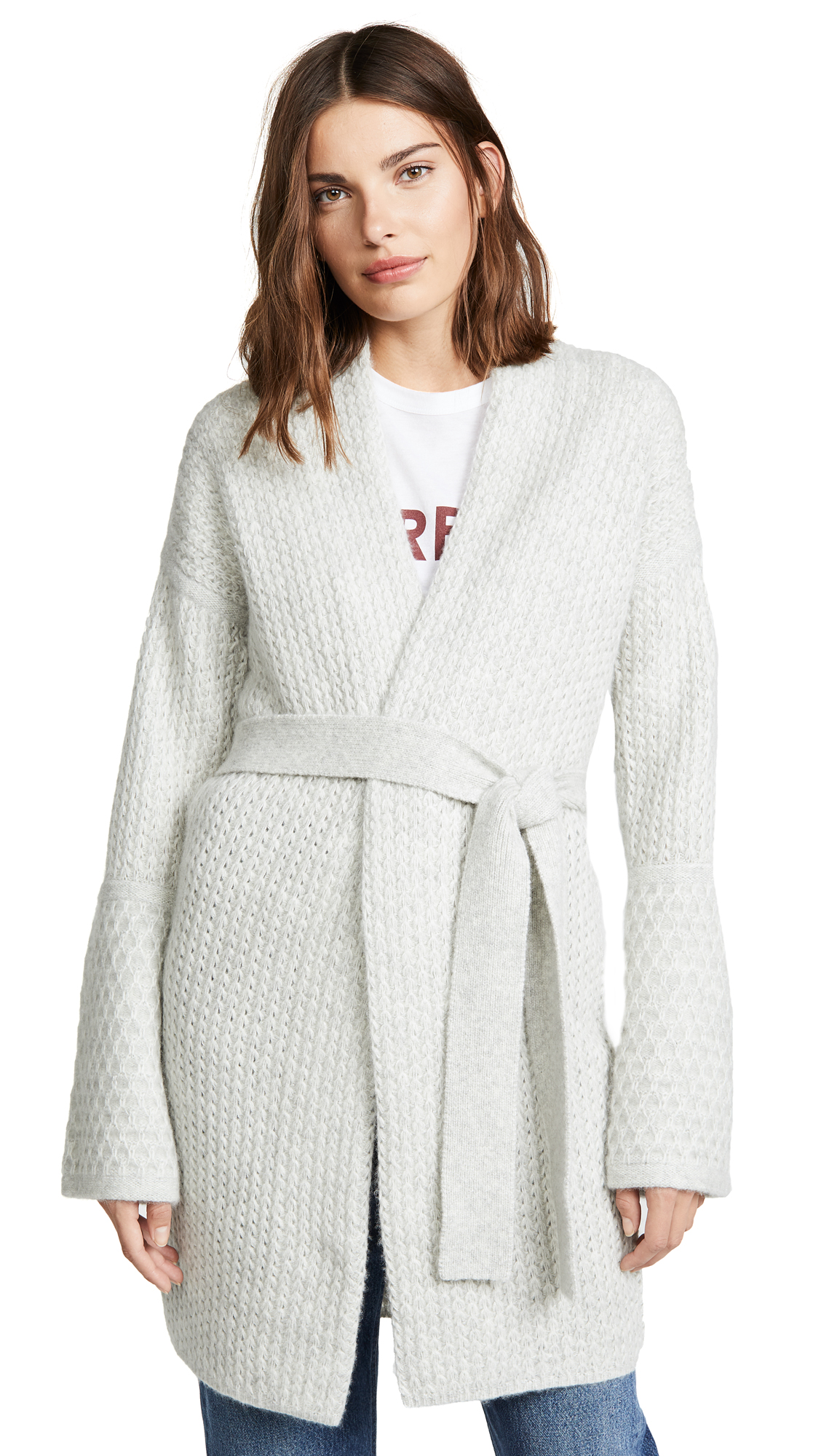 TSE Cashmere Cashmere Sweater Coat with Belt In Ice Grey Melange