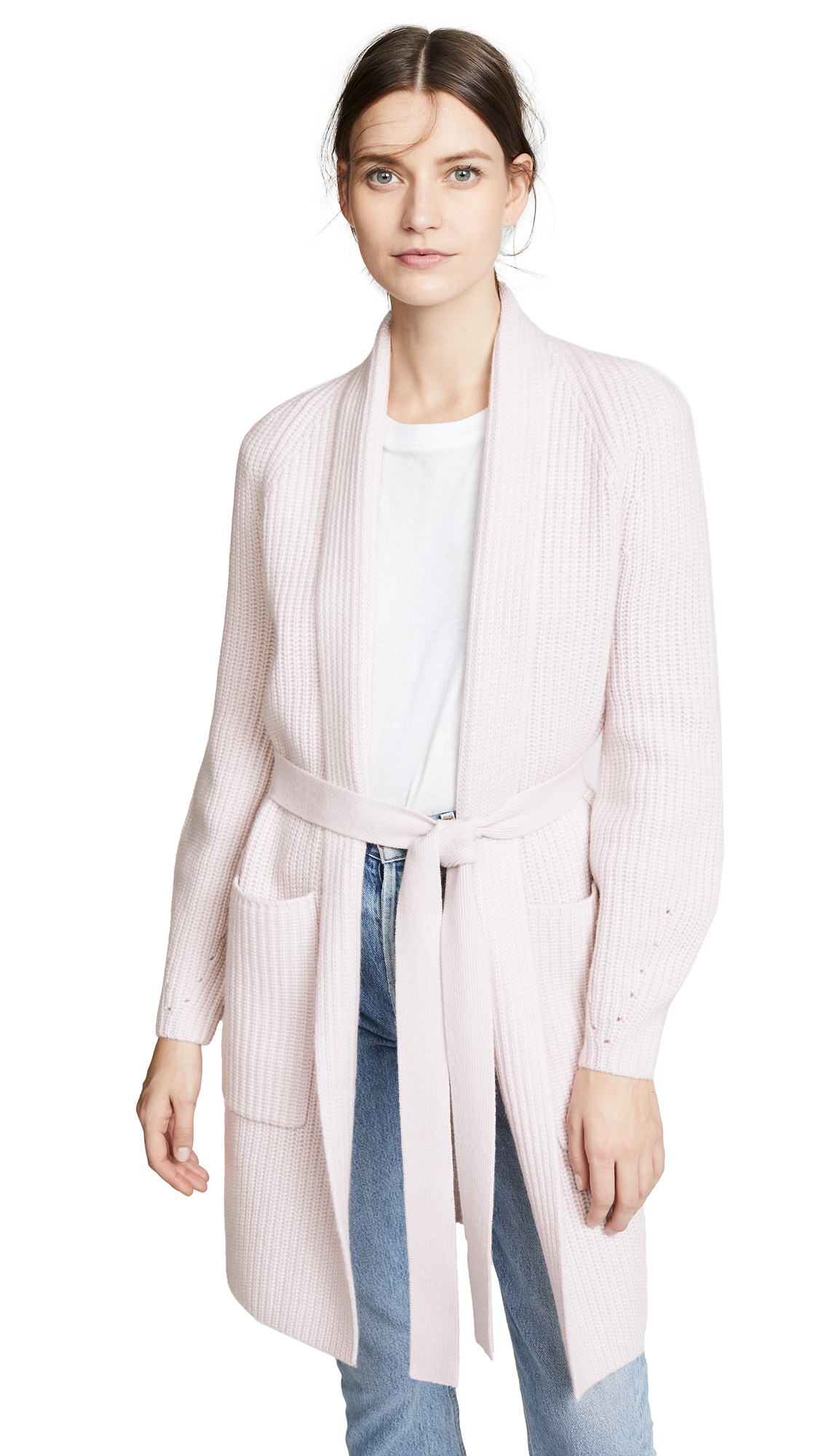 TSE CASHMERE Cashmere Cardigan Coat With Belt in Milky Pink