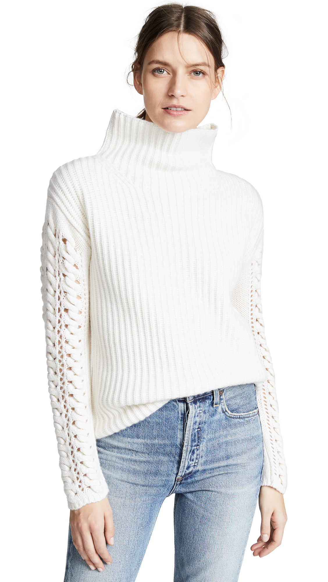 TSE CASHMERE Cashmere Turtleneck With Braided Cording Sleeves in Crème