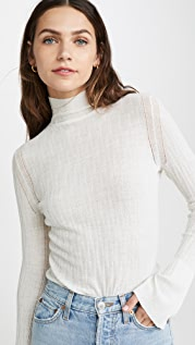 TSE Cashmere Smocked Cable Turtleneck