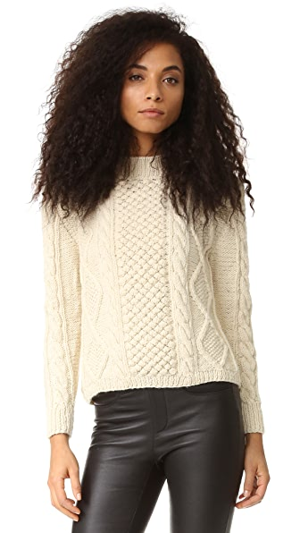 Tejido Aran Cable Pullover - Cream