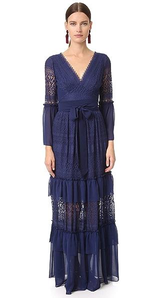 Temperley London Длинное кружевное платье с завязками-веревками