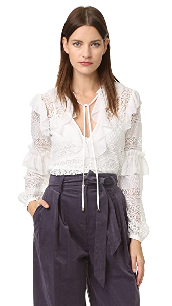 Temperley London Rope Lace Neck Tie Blouse