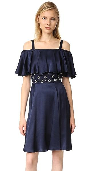 Temperley London Мини-платье Crossbone с бретельками и сетчатыми вставками