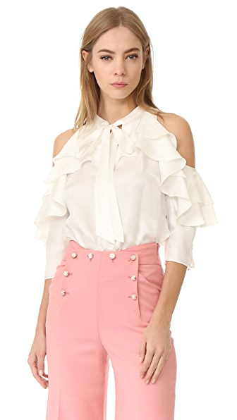 Temperley London Tempest Ruffle Blouse - White