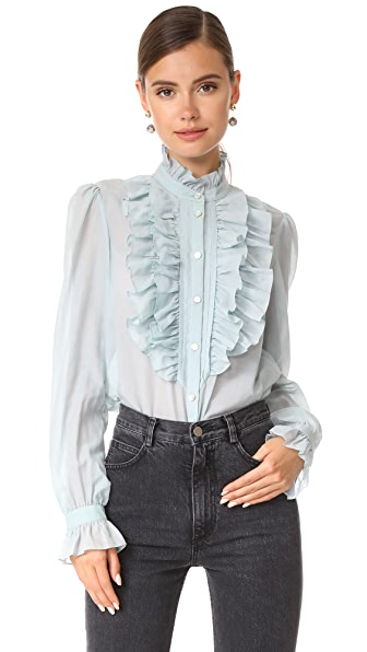Temperley London Strawberry Ruffle Shirt In Light Blue
