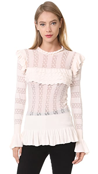 Temperley London Cypre Frill Top - Almond
