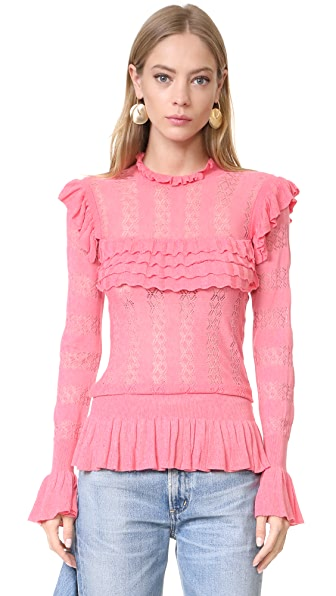 Temperley London Cypre Frill Top - Cameo Pink