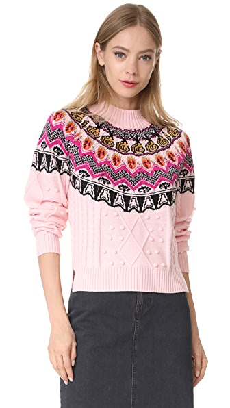 Temperley London Cable Sweater In Cameo Pink Mix