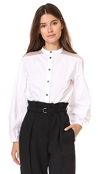 Temperley London Enigma Sleeve Shirt In White