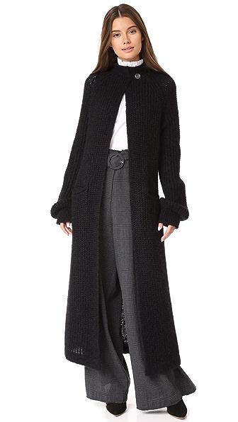 Temperley London Illusion Mohair Cardigan In Black