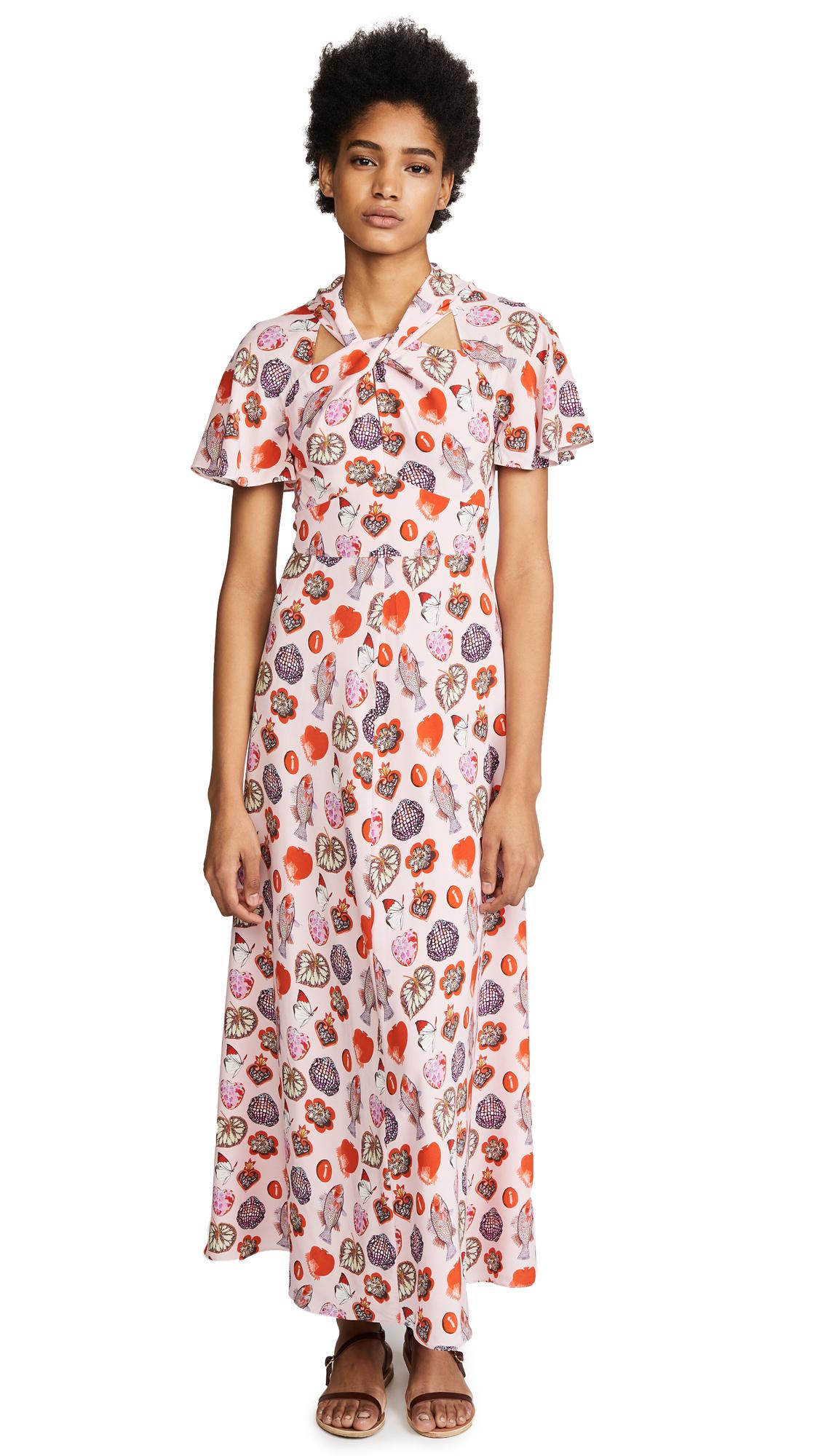 Temperley London Elixir Dress In Shell Mix