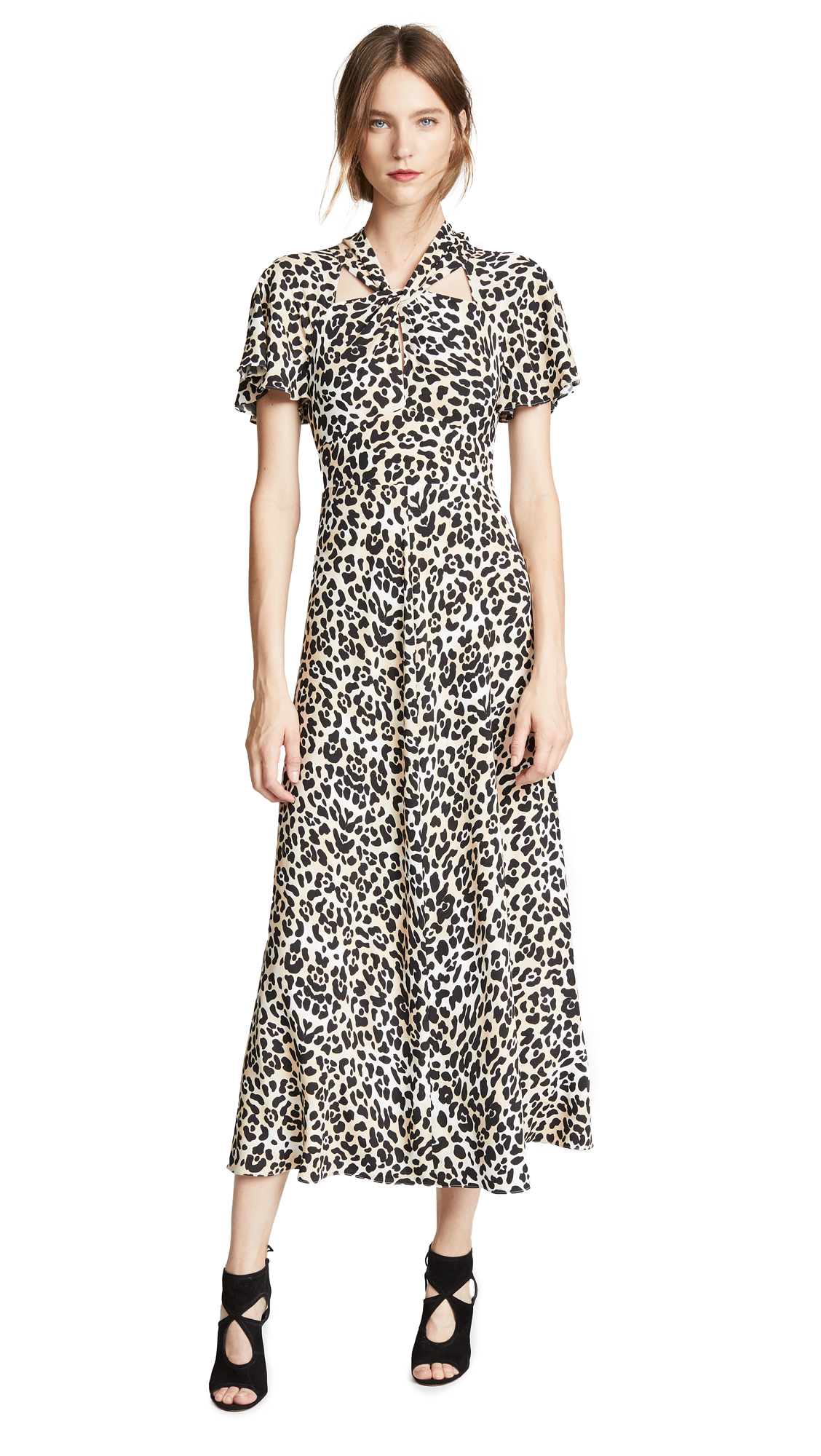 Temperley London Wild Cat Midi Dress In Leopard Mix