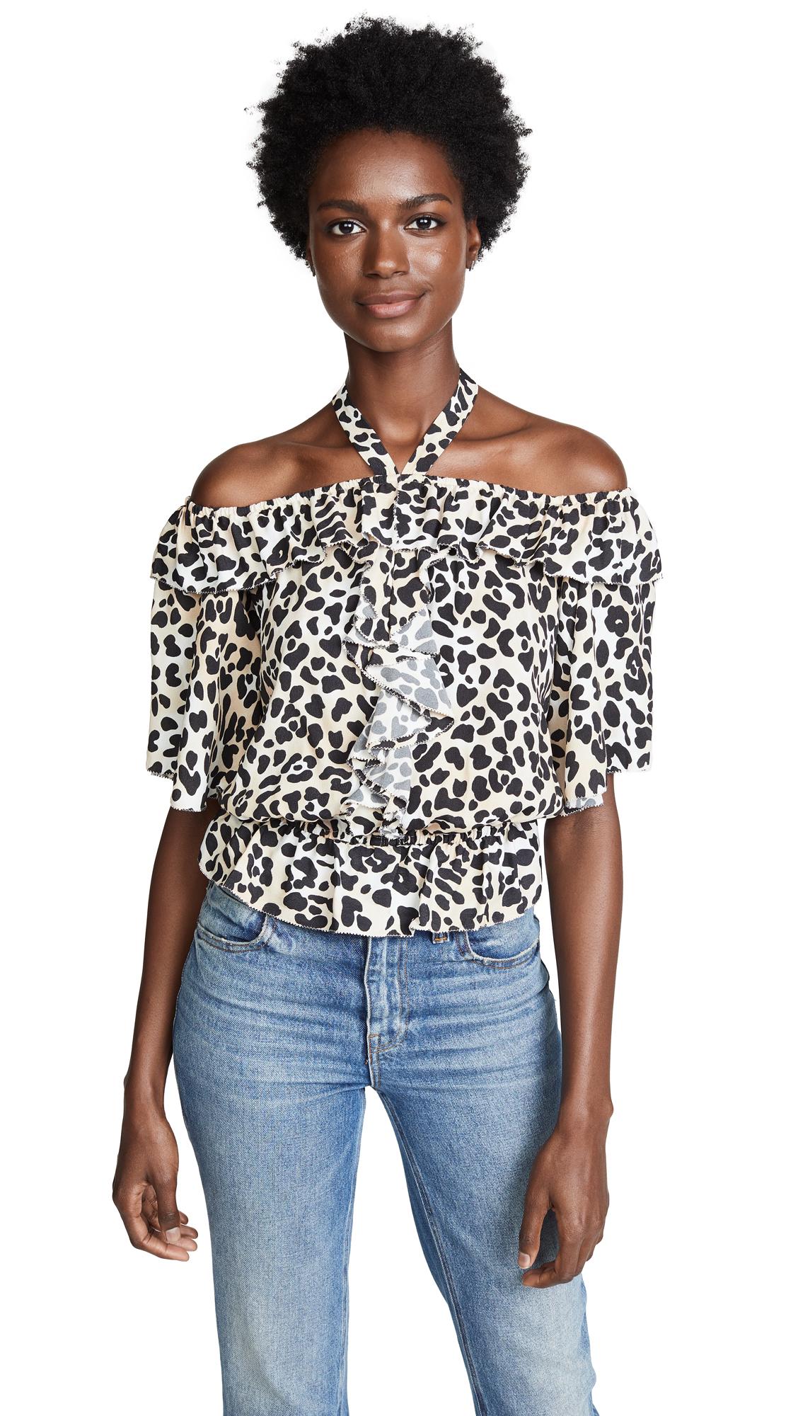 Wild Cat leopard-print crepe top