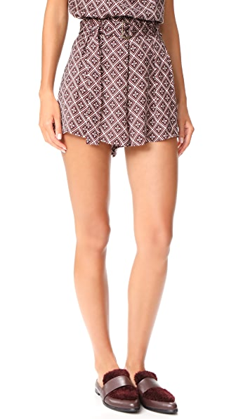 The Fifth Label The Blooming Shorts In Ruby Antique Print